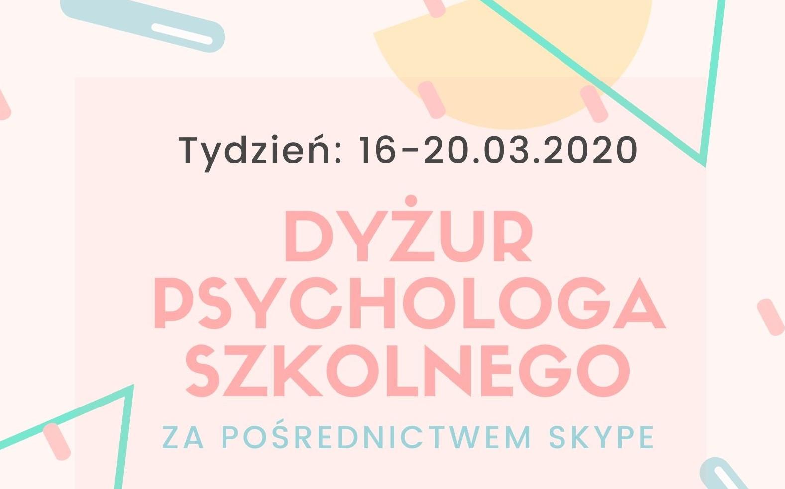Dyżur psychologa szkolnego