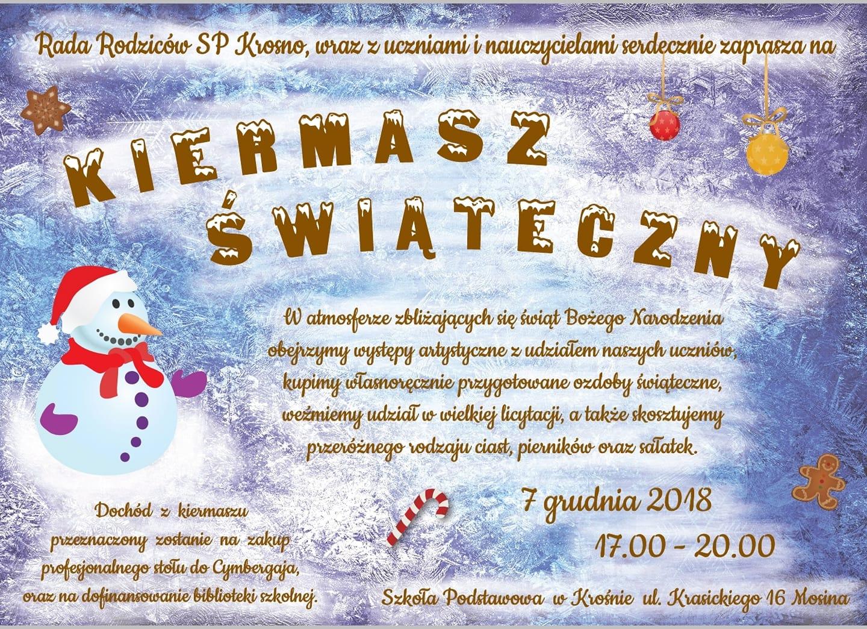 Zapraszamy na Kiermasz Świąteczny – już 7 grudnia